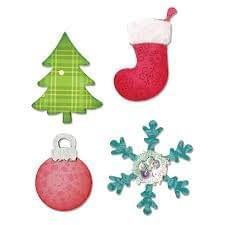 Sizzix Bigz Die - Christmas Tree, Ornament, Snow flake & Stocking - A10599