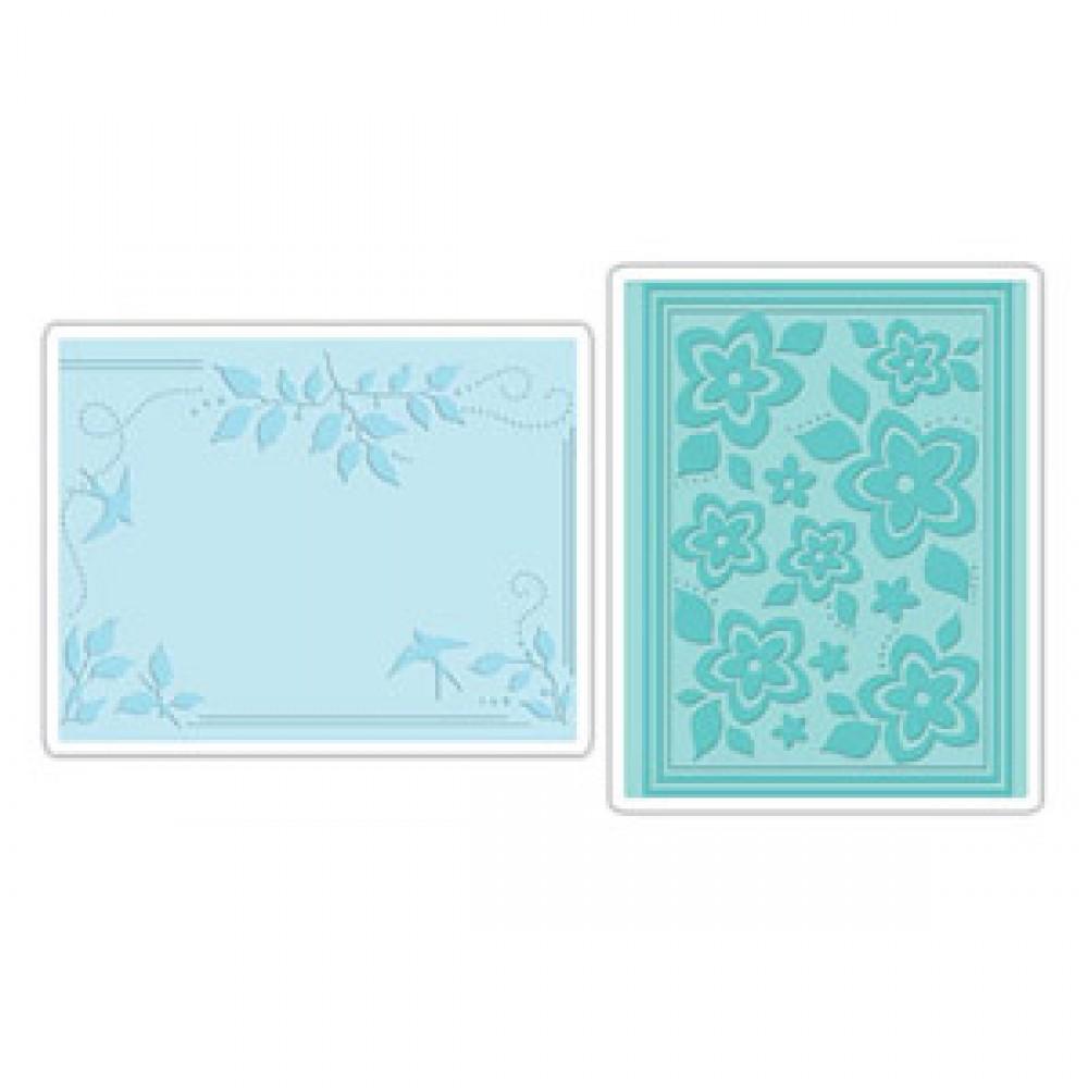 Sizzix Embossing Folders 2PK - Birds, Flowers & Branches Set - 656503