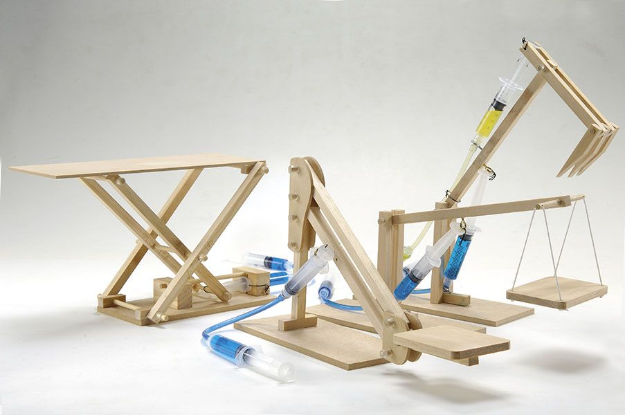 Hydraulic Machines 4-in-1 Wooden Kit (Cherry Picker, Platform Lifter, Excavator, Scissor Lift)