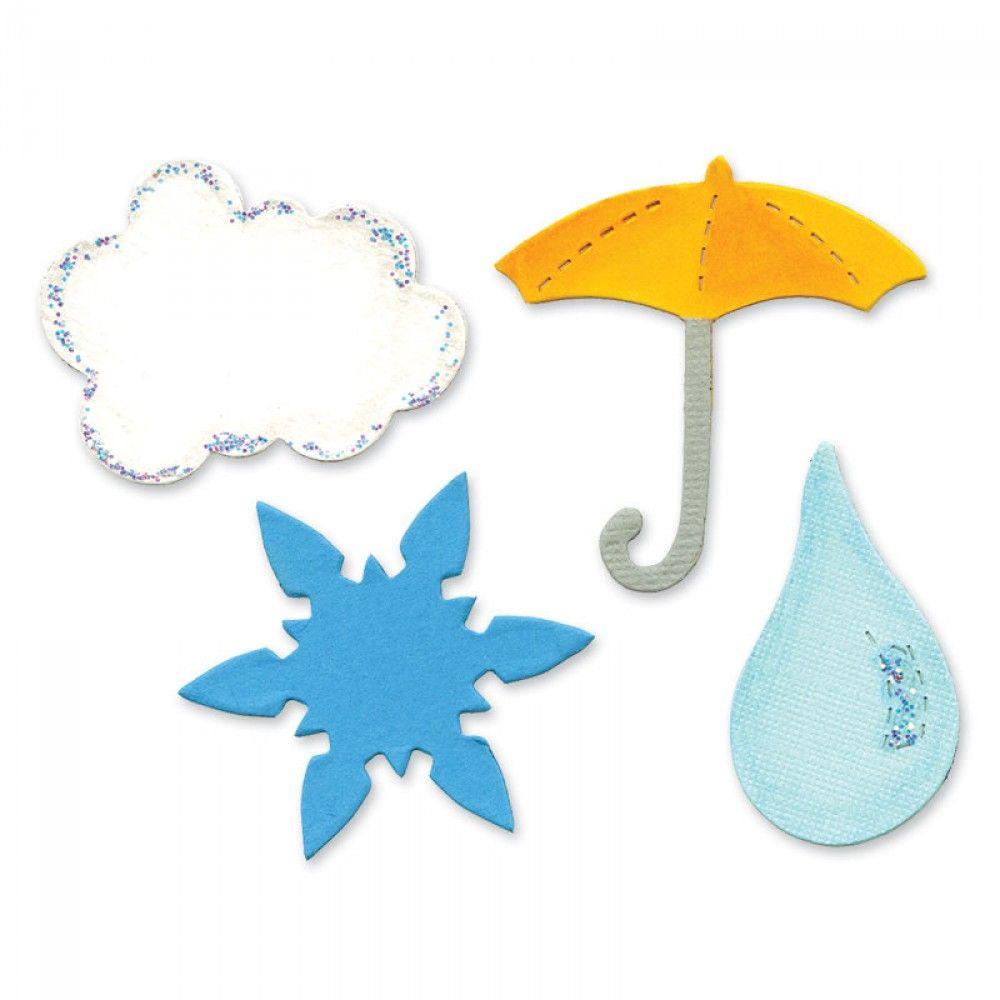 Sizzix Bigz Die - Cloud, Raindrop, Snowflake & Umbrella - A10707