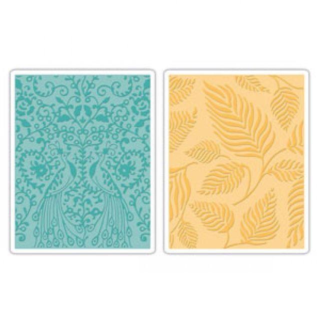 Sizzix Embossing Folders 2PK - Peacocks & Leaves Set - 657398