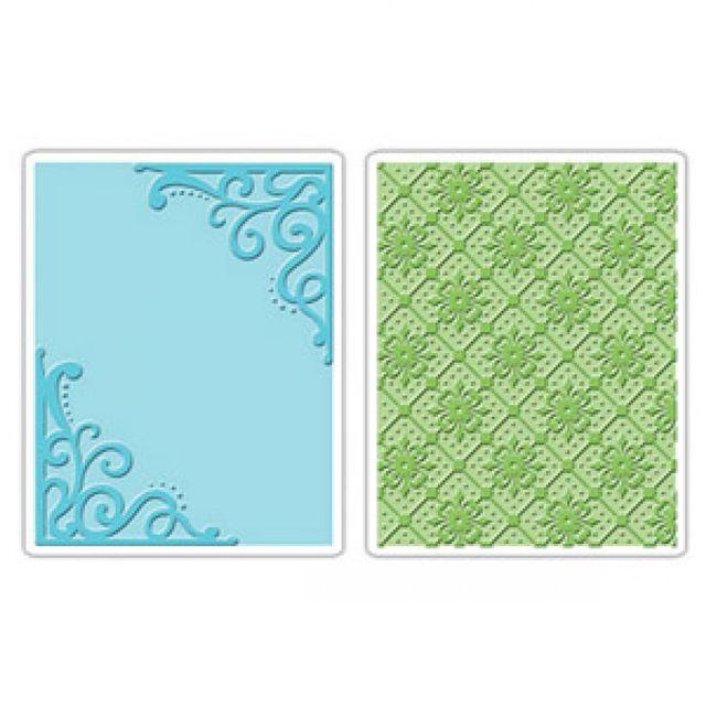 Sizzix Embossing Folders 2PK - Corners & Lattice Set - 656979