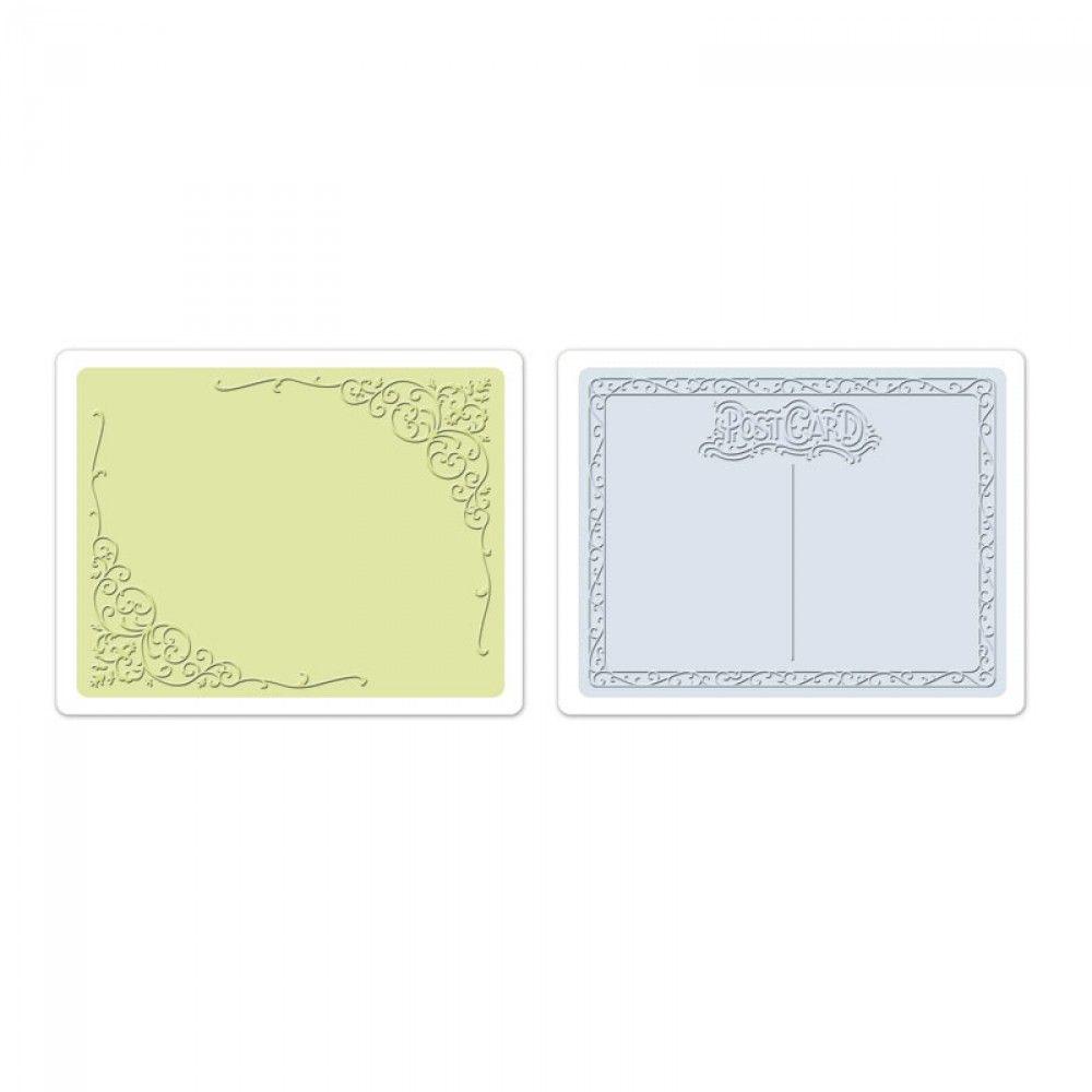 Sizzix Embossing Folders 2PK - Flourish & Postcard Set - 657666