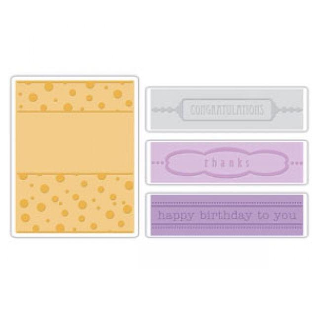 Sizzix Embossing Folders 4PK - Birthday, Congrats & Thanks Set -657382