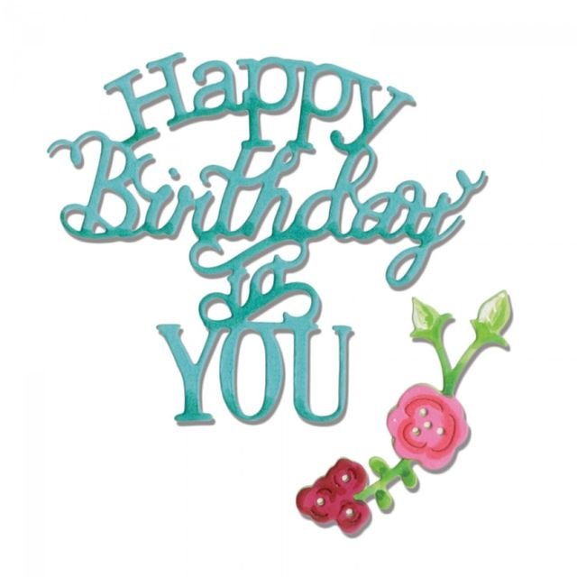 Sizzix Thinlits Die Set 3PK - Phrase, Happy Birthday to You - 660368