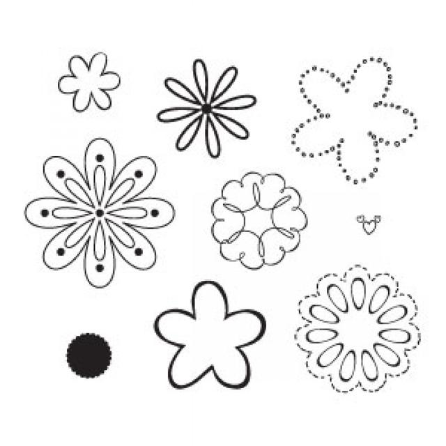 Sizzix Clear Stamps - Flowers, Happy Item - 656331