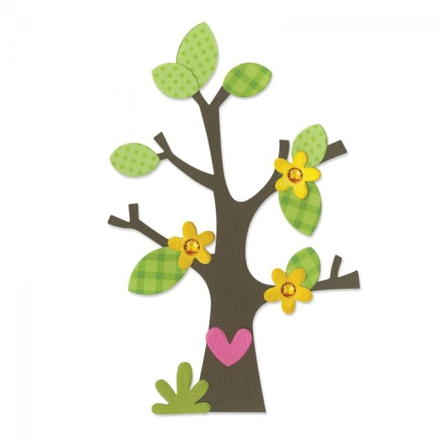 Sizzix Bigz Die - Tree w/Flower, Heart & Leaves - 660404