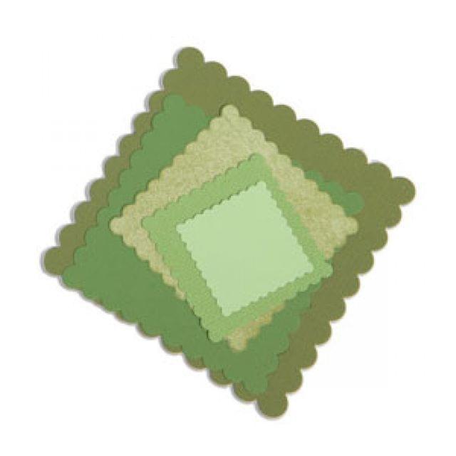 Sizzix Framelits Die Set 6PK - Squares, Scallop - 657566