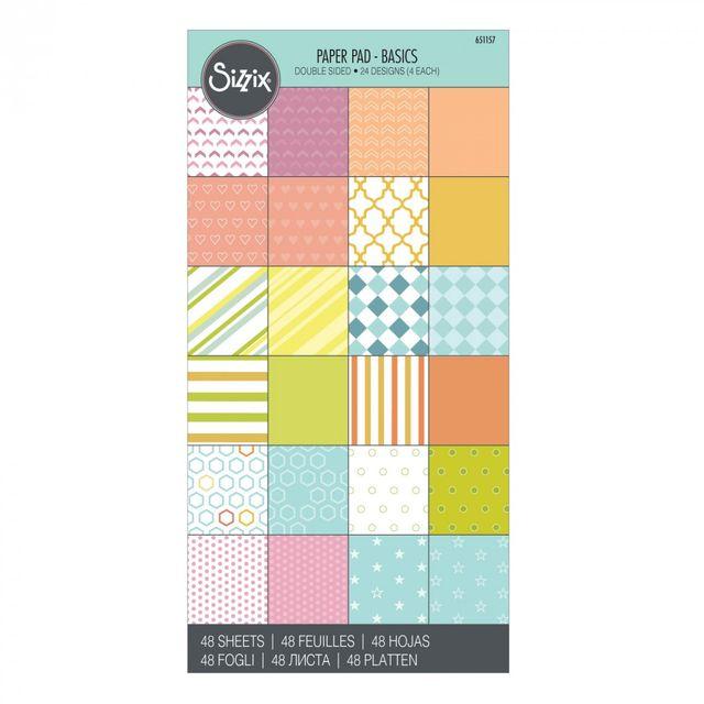 "Sizzix Paper - 6"" x 12"" Cardstock Pad, Basics, 48 Sheets - 651157"