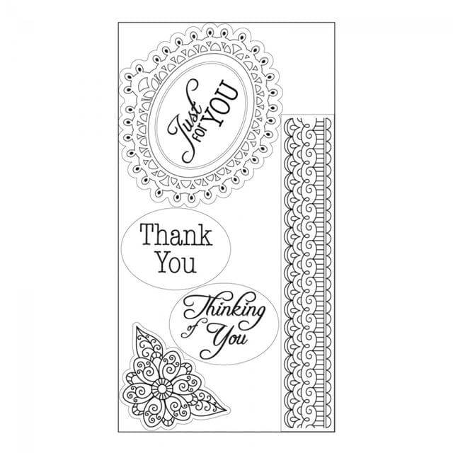 Sizzix Interchangeable Clear Stamps - Doodle Label w/Phrases- 660561
