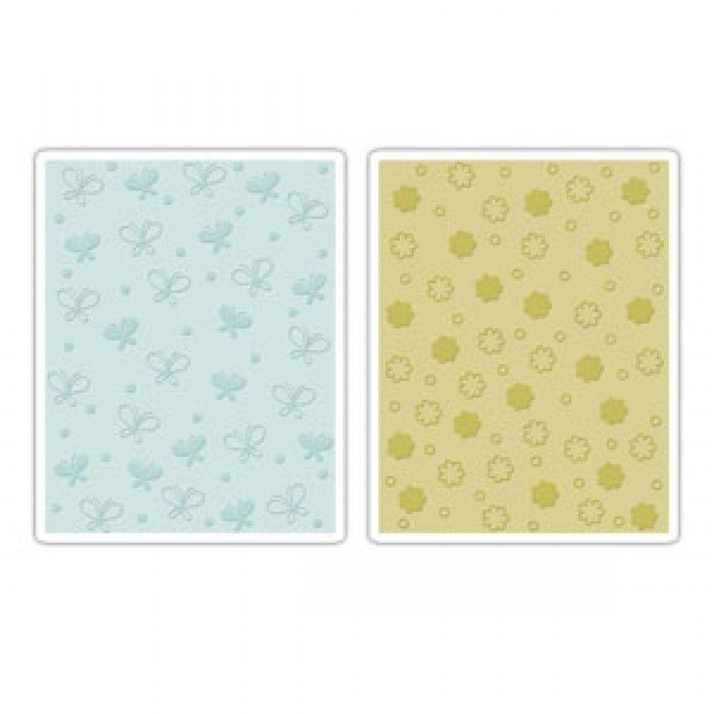 Sizzix Textured Impressions Embossing Folders 2PK - Butterflies & Flowers Set - 657597