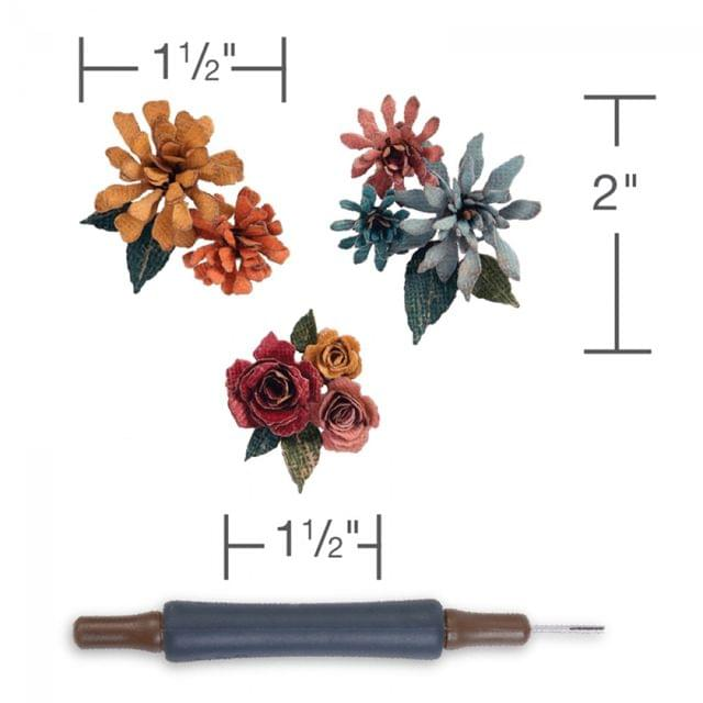Sizzix Thinlits Die Set 15PK w/Quilling Tool - Tiny Tattered Florals - 660227