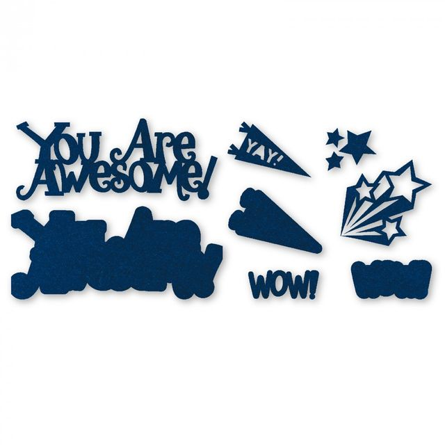 Sizzix Thinlits Die Set 8PK - You Are Awesome 3-D Drop-ins Sentiment- 661130