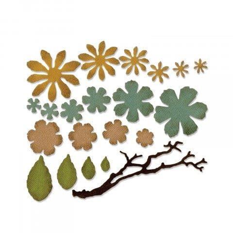 Sizzix Thinlits Die Set 21PK - Small Tattered Florals- 661806