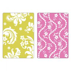 Sizzix Textured Impressions Embossing Folders 2PK - Damask & Beaded Floral Stripe Set - 658352