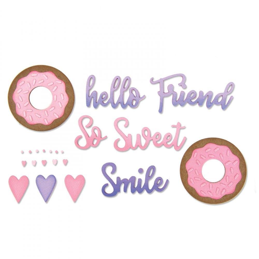 Sizzix Thinlits Die Set 9PK - Phrases, Sweet & Donut-662723