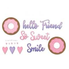 Sizzix Thinlits Die Set 9PK - Phrases, Sweet & Donut-662723