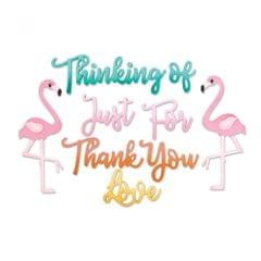 Sizzix Thinlits Die Set 11PK - Phrases, Thank You & Flamingo - 662724