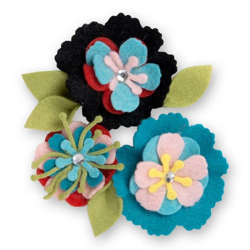 Sizzix Thinlits Die Set 13PK - Stitchy Flowers & Leaf - 661903