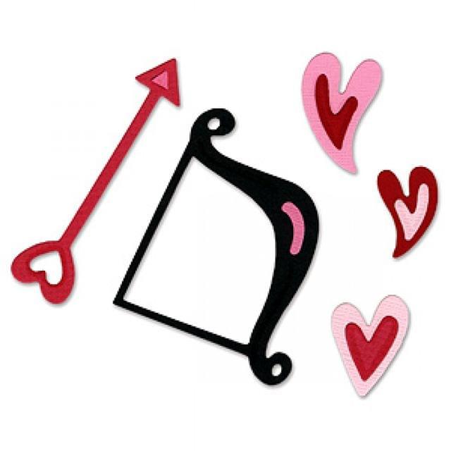 Sizzix Sizzlits Die Set 3PK - Cupid Bow & Arrow w/Hearts Set Item - 655674