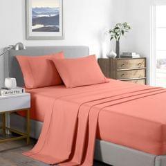 (DOUBLE) Casa Decor 2000 Thread Count Bamboo Cooling Sheet Set Ultra Soft Bedding - Peach