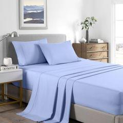(DOUBLE) Casa Decor 2000 Thread Count Bamboo Cooling Sheet Set Ultra Soft Bedding - Light Blue