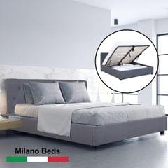 (SINGLE ) Milano Capri Luxury Gas Lift Bed Frame Base And Headboard With Storage All Sizes - Charcoal