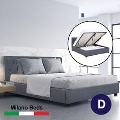 (DOUBLE) Milano Capri Luxury Gas Lift Bed Frame Base And Headboard With Storage All Sizes - Charcoal