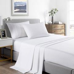 (SINGLE) Casa Decor 2000 Thread Count Bamboo Cooling Sheet Set Ultra Soft Bedding - White