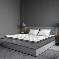 (KING) Luxopedic Pocket Spring Mattress 5 Zone 32CM Euro Top Memory Foam Medium Firm - King - White  Grey