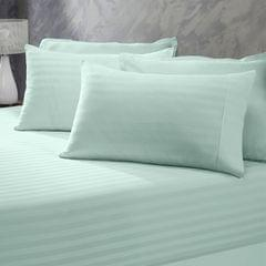(QUEEN)Royal Comfort 1200 Thread Count 3 Piece Combo Set 100% Egyptian Cotton Striped  Chambray