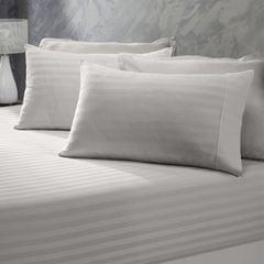 (DOUBLE)Royal Comfort 1200 Thread Count 3 Piece Combo Set 100% Egyptian Cotton Striped  Silver