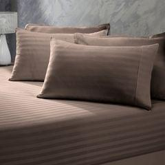 (DOUBLE)Royal Comfort 1200 Thread Count 3 Piece Combo Set 100% Egyptian Cotton Striped  Charcoal
