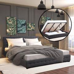 (QUEEN) Milano Decor Eden Gas Lift Bed With Headboard Platform Storage Dark Grey Fabric - Dark Grey