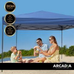 Arcadia Furniture Gazebo 3 x 3 Metre Canopy Navy Portable Pop Up Outdoor Beach