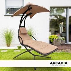 Arcadia Furniture Hammock Swing Chair Chaise Lounger Beige Waterproof Outdoor