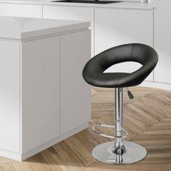 Milano Decor Delilah Height Adjustable Barstool Black Circular Arc Swivel Chrome
