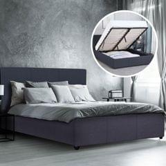 Milano Luxury Gas Lift Bed Frame Base And Headboard With Storage All Sizes - Single - Charcoal