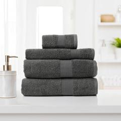 Royal Comfort 4 Piece Cotton Bamboo Towel Set 450GSM Luxurious Absorbent Plush - Granite