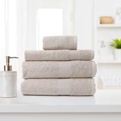 Royal Comfort 4 Piece Cotton Bamboo Towel Set 450GSM Luxurious Absorbent Plush - Beige
