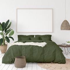 (QUEEN)Balmain 1000 Thread Count Hotel Grade Bamboo Cotton Quilt Cover Pillowcases Set - Queen - Olive