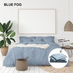 Royal Comfort 1000 Thread Count Bamboo Cotton Sheet and Quilt Cover Complete Set - Queen - Blue Fog