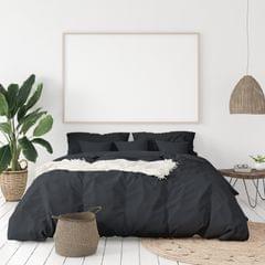 (QUEEN)Balmain 1000 Thread Count Hotel Grade Bamboo Cotton Quilt Cover Pillowcases Set - Queen - Charcoal
