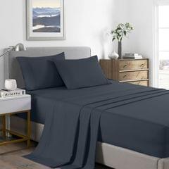 (SINGLE)Royal Comfort 2000 Thread Count Bamboo Cooling Sheet Set Ultra Soft Bedding - Single - Charcoal