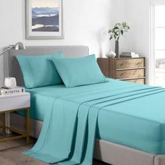 Casa Decor 2000 Thread Count Bamboo Cooling Sheet Set Ultra Soft Bedding - King - Aqua