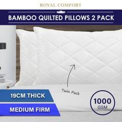 Royal Comfort Luxury Bamboo Blend Quilted Pillow Twin Pack Extra Fill Support