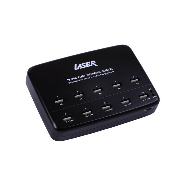 10 USB Port Charging Station  BLACK