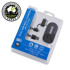 AC Wall Charger Twin USB   2 x 2.4A Output with 3 in 1 Cable BLACK