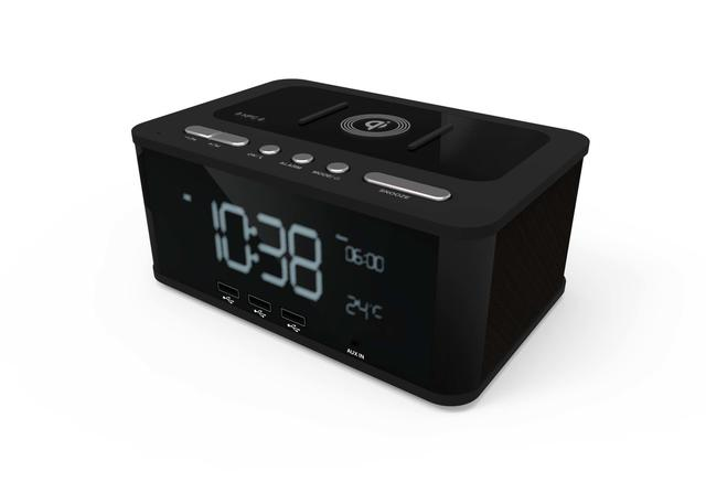 Qi Wireless Charging Alarm Clock Bluetooth Speaker