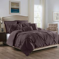 ROYAL COMFORT 7PCS PLEAT COMFORTER SET 150gsm Fill -QUEEN TRUFFLE